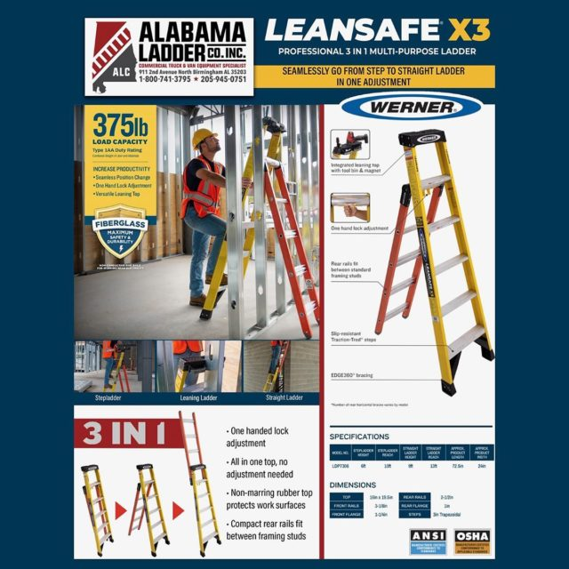 The NEW Werner LEANSAFE X3 Professional Multi Position Ladder. 3 ladders in 1...stepladder, leaning ladder, and straight ladder! Transitions from stepladder to straight ladder in only one adjustment, contact us to order yours today!  #WernerLadder #LEANSAFEX3 #jobsite #stepladder #MultiPurposeLadder
