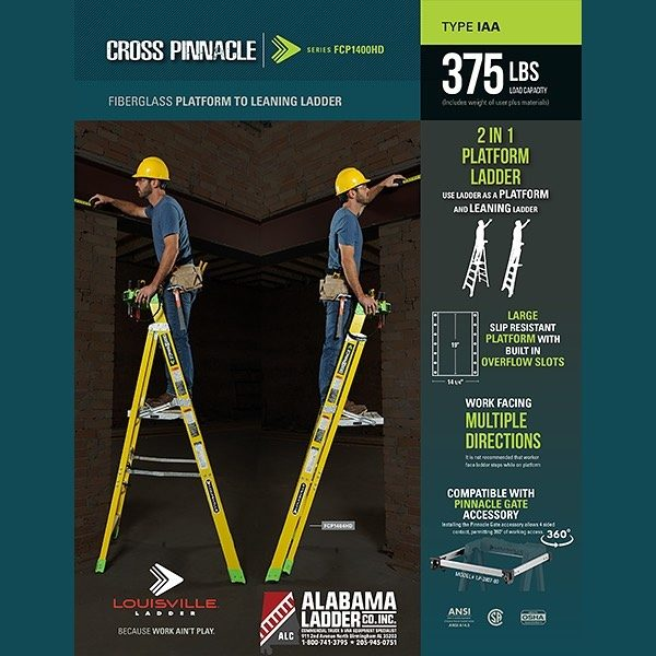 Introducing the latest from @louisvilleladder, the Cross Pinnacle 2 in 1 Leaning Platform Ladder. This innovation is the first of its kind. Combining the sturdiness of a platform ladder with the ability to be leaned.  #louisvilleladder #crosspinnacle #leaningplatform #construction #tools #homeimprovement #ladder #workladder #jobsite