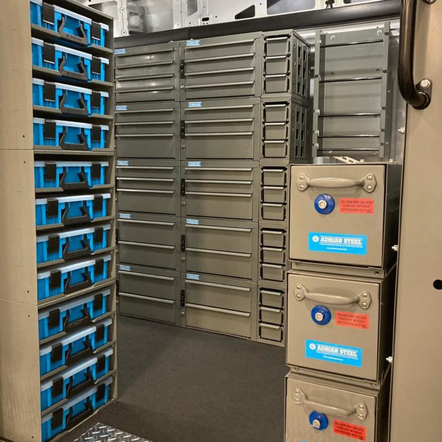 Adrian Steele commercial van drawer units install.   #adriansteele #commercialvan #tools #toolorganization #install #shoplocal #workvan