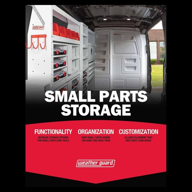 Now available, @weatherguardnation small parts storage!  Maximize your van space with flexible organization options and easier access to small parts and tools.  Contact us for more information and details.  #weatherguard #smalltools #cargovan #vanorganization #toolstorage #tools #workvan