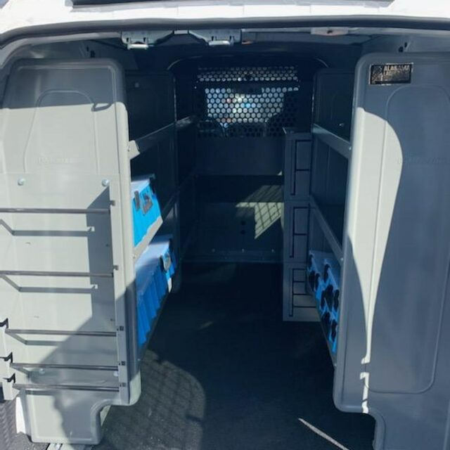 Nissan NV200 cargo van install with Adrian Steel management solutions (shelving, partitions, ladder racks, etc).  #cargovan #adriansteel #havc #electrical #plumbing #workvan