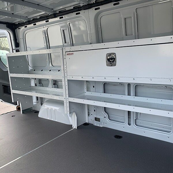 Wrapping up field installations.  Weatherguard contractor package for a Mercedes-Benz Sprinter van.  Adjustable cargo van shelving, storage bins, and accessories designed for contractors and general service providers.  #weatherguardnation #cargovan #contractors #workvan #mercedesvan #vanshelving