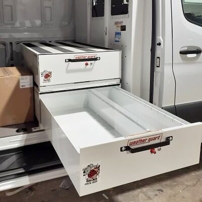 Weatherguard Pack Rat units for pullout tool storage.  Installed on Mercedes Sprinter van.  #toolstorage #truckstorage #vanstorage #workvan #worktruck #cargovan #weatherguardnation #packrat