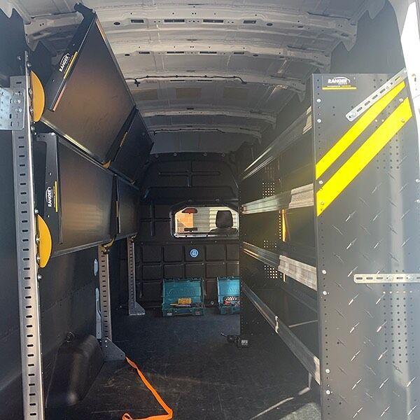 "Ranger Design Fold-Away Foldable Shelving 96"" HD Shelf Unit - Four Levels  Swipe 👉🏻 to see shelving fold out!  #rangerdesign #shelving #workvan"
