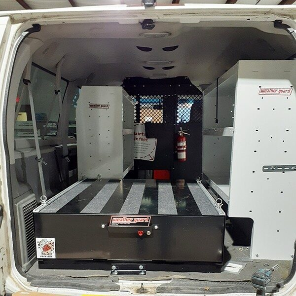 Adjustable van shelving from @WeatherGuardNation paired with heavy-duty Pack Rat® drawer unit helps maximize van storage customization and capacity.  #weatherguardnation #weatherguard #oldschoolfordeconoline #van #vanstorage #tools #workvan #PackRat